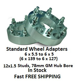 Wheel Adapters 6X5.5 to 6x5 (pair of 2) 12x1.5 GM, 78mm Hub Bore