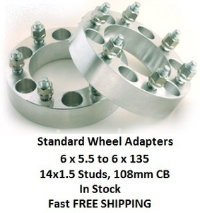 Wheel Adapters 6X5.5 to 6x135  (pair of 2) 14x1.5, 108mm Hub Bore