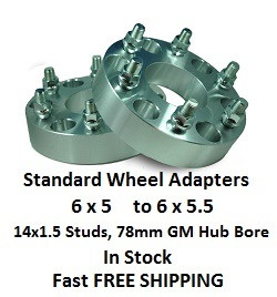 Wheel Adapters 6X5 to 6x5.5 (pair of 2) 14x1.4 Studs, 78mm Hub Bore