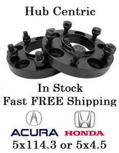 Hub Centric 20mm Wheel Adapter Spacer 5x4.5 (5x114.3) Acura Honda (Pair of 2) 12x1.5 Studs 64.1 Hub