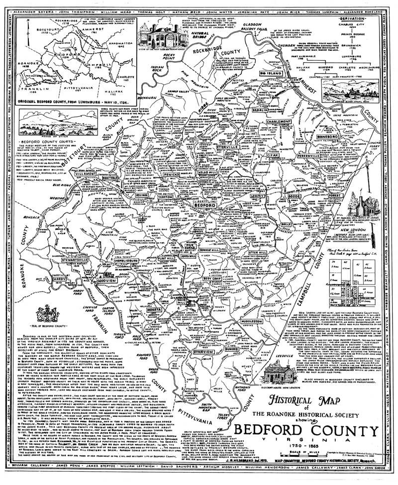 Map Of Virginia 1750.Map Bedford County Historical Society Of Western Virginia