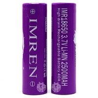 Purple IMREN IMR 18650 3.7V 2500mAh 40A High Drain Rechargeable Batteries (2 pack)