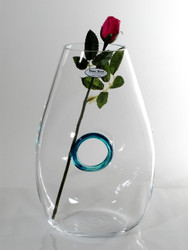 Time Tree Turquoise Color Ringed Turkish Glass Vase / Decanter