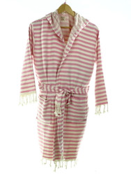 pink CHEVRON beachrobe bathrobe hooded