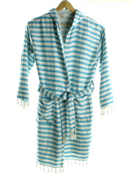 CHEVRON beachrobe bathrobe turquoise hooded