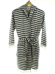 CHEVRON beachrobe bathrobe black