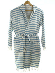 CHEVRON ooded beachrobe bathrobe blue