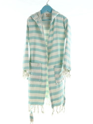 CHEVRON kids hooded beachrobe bathrobe blue
