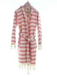 CHEVRON kids hooded beachrobe bathrobe pink