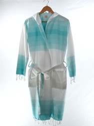 TANGO turkish towel beachrobe bathrobe hooded turq