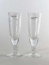 crackling glass flute champagne H18cm