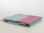 Fiesta Turkish Towel Peshtemal Turquoise-Pink