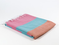 Carnival Turkish Towel Peshtemal Pink-Turquoise-Orange