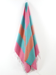 Carnival Turkish Hand Towel, Tea Towel, Headwrap, Pink-Turquoise-Orange