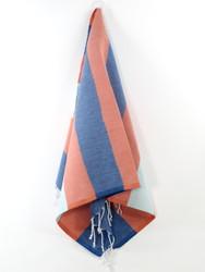 Carnival Turkish Hand Towel, Tea Towel, Headwrap, Navy-Orange-Turquoise