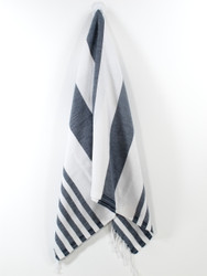Lily Turkish Hand Towel, Tea Towel, Headwrap, Navy