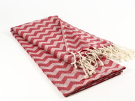 Waves Turkish Towel, Peshtemal, Red