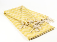 Waves Turkish Towel, Peshtemal, Yellow