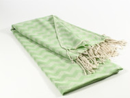 Waves Turkish Towel, Peshtemal, Green