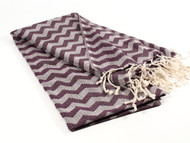 Waves Turkish Towel, Peshtemal, Burgundy
