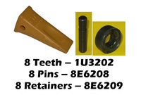 1U3202 Bucket Teeth - 8 Pack, Caterpillar Style, CAT Style