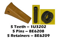 Cat Style 1U3202 bucket teeth, 5 pack pins and retainers