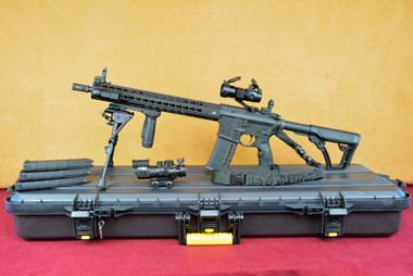 "Aero Precision AR-15 Enhanced Upper, Quantum Keymod 15"" Left Side on Plano Case with Magazines and Extra Scope"