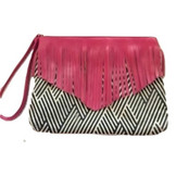 OPI Black White with Pink Fringe Wristlet Cosmetic Makeup Bag