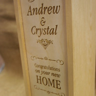 Wooden Personalised WInebox - New Home Gift