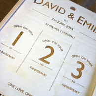 Wooden Wedding Triple Personalised Winebox - with open on your anniversary graphics