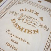 Wooden WeddingTriple Personalised Winebox - Date ticket