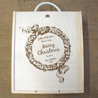 Personalised Wooden Winebox with Christmas Wreath suitable for 3 bottles