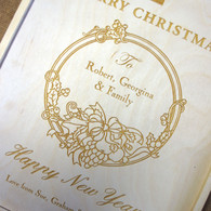 Engraved Wooden Wineboxes with Christmas Wreath - triple winebox
