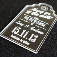 Clear Acrylic laser engraved Save the Date Luggage Tag Style 03