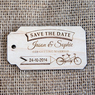 Wooden Save the Date Tandem Tag