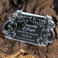 Mirrored acrylic Save the Date magnets - Cherubs