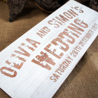 Vintage white washed, wooden wedding sign