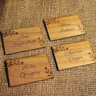 Wooden Wedding place names with Alder wood veneer - Leaves