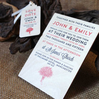 "Printed Wooden Wedding Invitation with matching ""Save the Date"" Printed Wooden Tag"