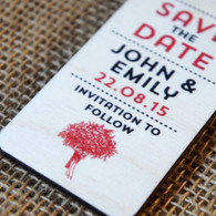 Wooden Printed Save the Date Tags with ribbon.