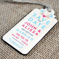"Printed wooden ""Save the Date"" tag with twine"
