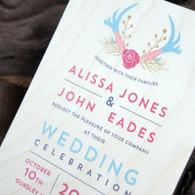 Printed Wooden Wedding Invitation - Antlers