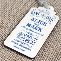 "Wooden Printed ""Save the Date"" tags with magnet to the rear."