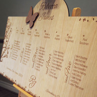 Engraved Wooden Wedding Table Plan - Butterflies