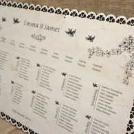 Engraved Wooden Wedding Table Plan - Flowered Border
