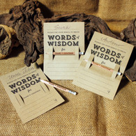 "Wooden Wedding Pencil and ""Words of Wisdom"" Kraft place setting backing card.  The 3 in 1 wedding favour."