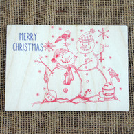 Wooden Printed Postcard - Snowman & Woman