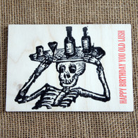 Printed Wooden Postcard - Birthday (Day of the Dead Lush)