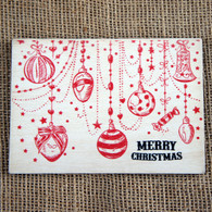 Wooden Printed Postcard - Christmas Bauble