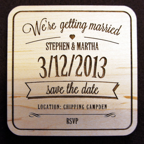 Wooden Save the Date We're Getting Married Coaster